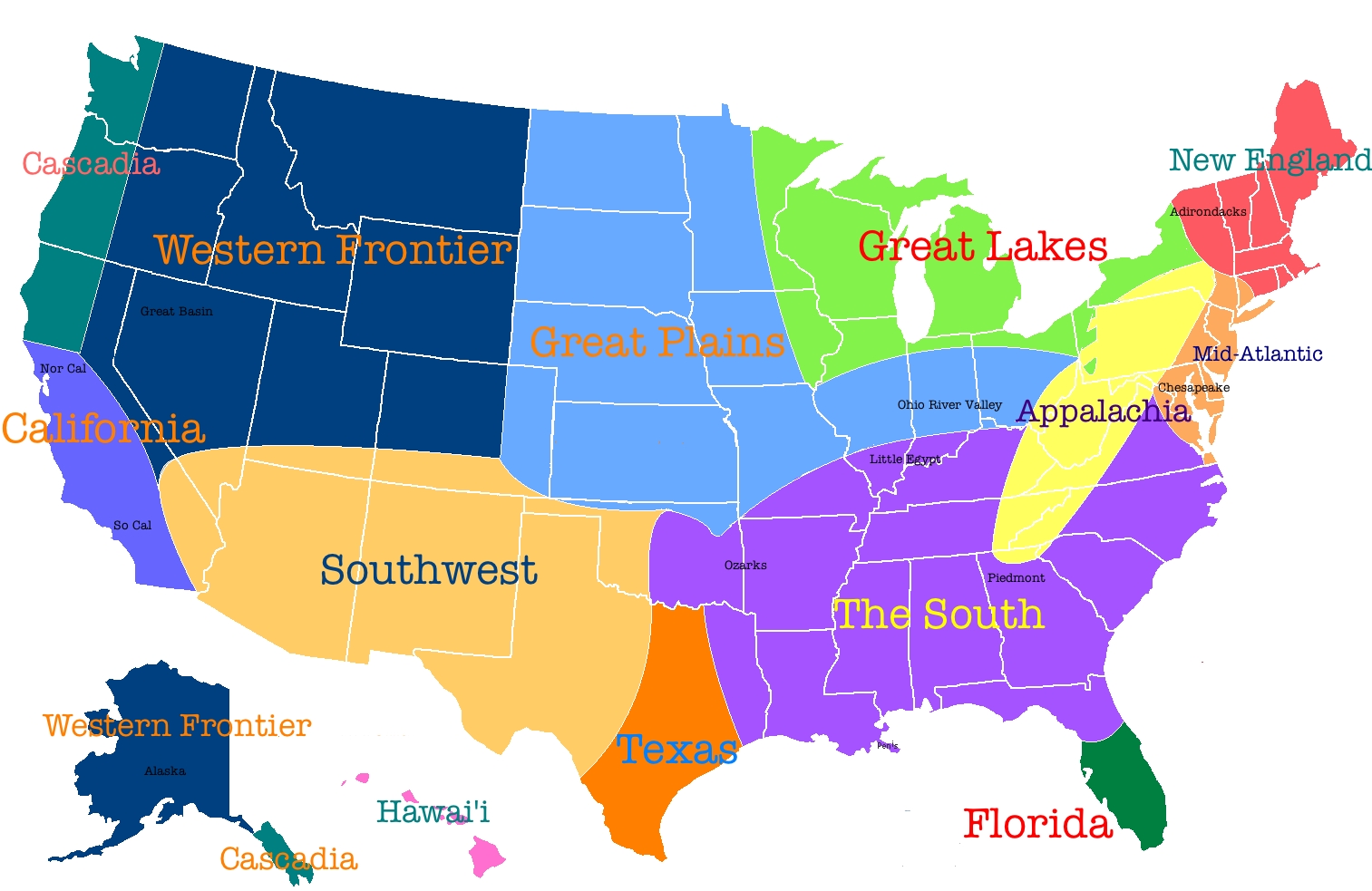 US Regions Map The Five Regions Of USA Lesson Module The Five - Southern region us states map